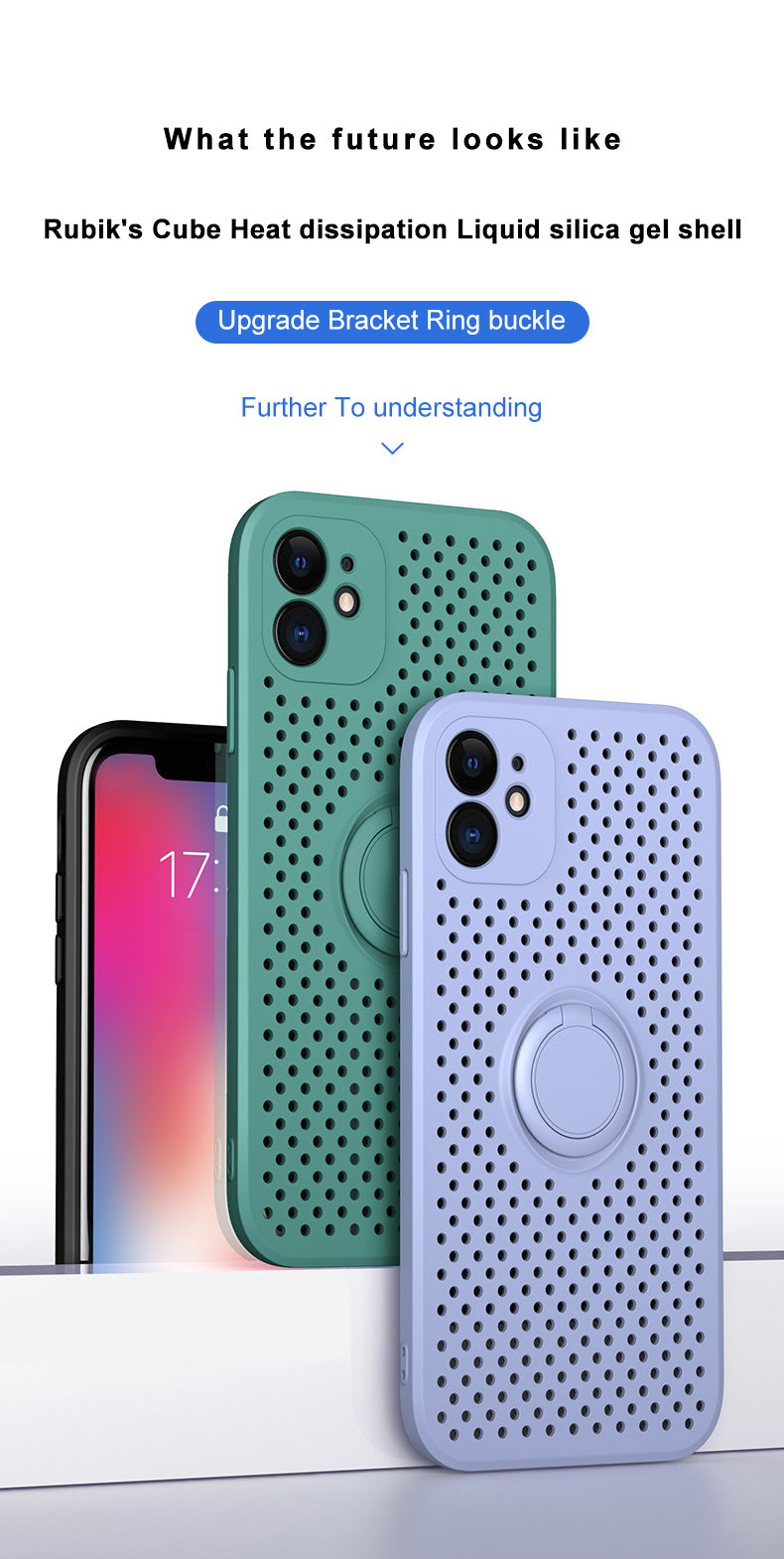 Heat Dissipation Silicone Case With Ring Stand For iPhone 12 Pro Max