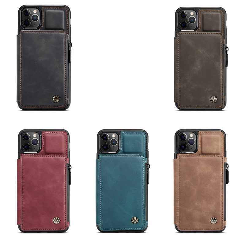 Luxury Retro Fashion Leather Zipper Wallet Flip Phone Case For iPhone 12 Pro