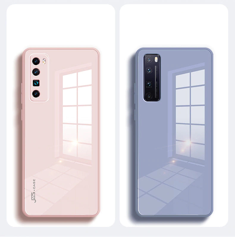 Luxury Liquid Tempered Glass Hybrid Soft Frame Case For Huawei P40