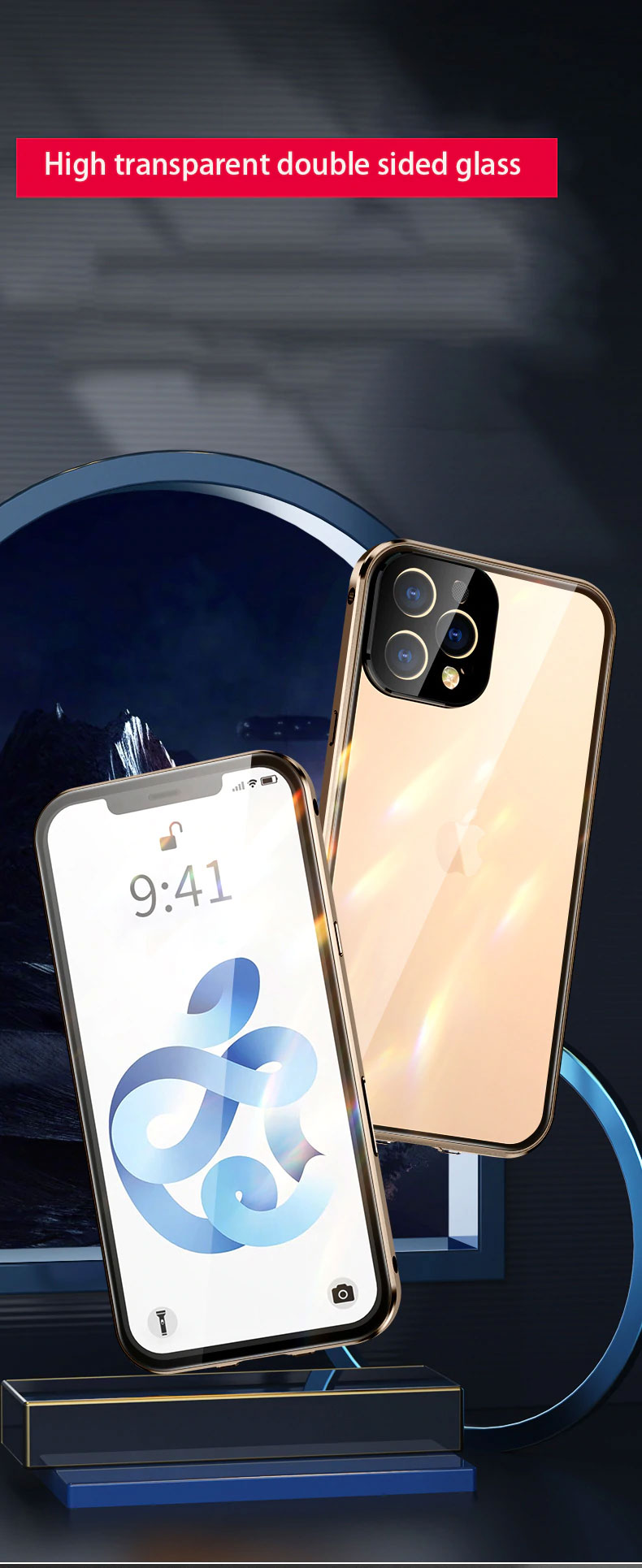 Luxury Metal 360 Buckle Installation Glass Case For iPhone 12 Pro Max
