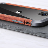 2 in 1 Hybrid Frame Edge Protective Cover Ultra Thin Metal Wooden Bumper Case for iPhone 11 Series