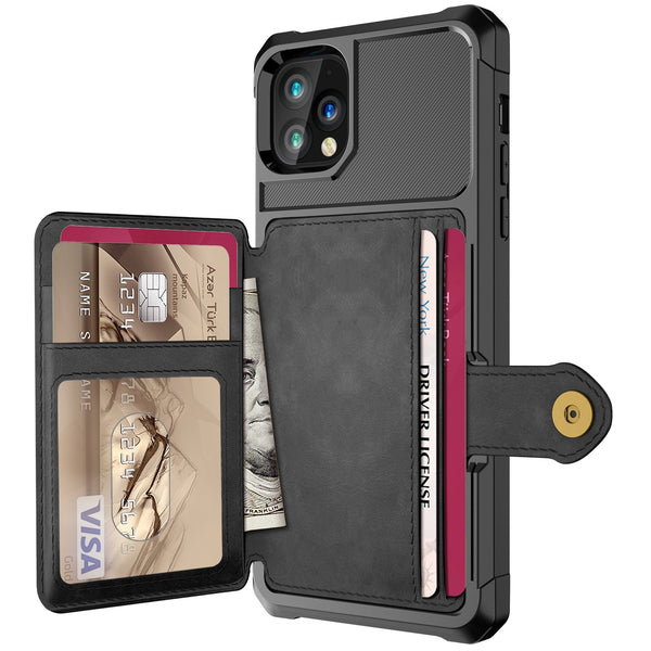 Luxury PU Leather Wallet Flip Cover Buckle Wallet Case for iPhone 12 Pro Max  2
