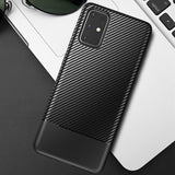 Carbon Fiber Skin Hybrid Silicone Protection Shockproof Case for Samsung Galaxy S20 Series