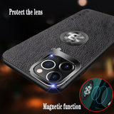 Car Magnetic Bracket High-quality Luxury Leather Case With Finger Ring For iPhone 11 Series