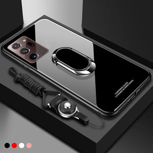 Tempered Glass Magnet Ring Holder Phone Case Hard Back Cover for Samsung Galaxy Note 20 Series & S20 Series