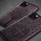 Carved Ebony Wooden TPU Case For iPhone 11 11 Pro 11 Pro Max