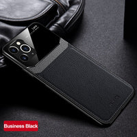 PU Leather Mirror Tempered Glass Lens Protection Waterproof Case for iPhone 12 Series