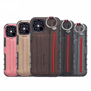 Case for iPhone 12 11 Pro Max XR XS 7 8 6 Plus Funda with Wrist Strap Fabric Cloth Card Slot Shockproof Anti-fall Back Cover