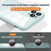 Square Frame Tempered Glass Phone Case For iPhone 12 Series