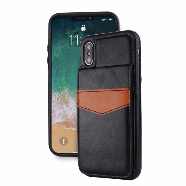 Vertical Leather Flip Case For iPhone X 8 7 6 Plus