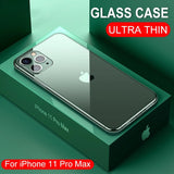 Ultra Thin Transparent Luxury Glass Case For iPhone 11 Pro Max XS MAX XR X 10 7 8