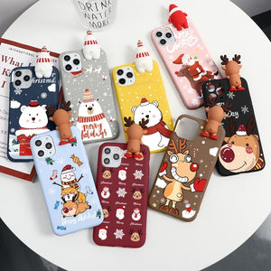 Cute 3D Cartoon Doll Christmas Deer Case For iPhone 11 & iPhone 12 Series
