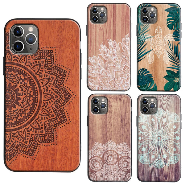 Mandala Floral Wooden Pattern Case For iPhone 11 & iPhone 12 Series