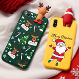 Merry Christmas Santa Claus Deer Doll Silicon Case For iPhone 11 12 Series