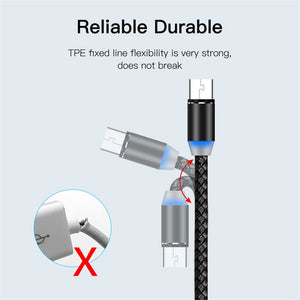 360 Degree Rotate Magnetic Type-C Fast Charging Cable For LG Samsung Phone
