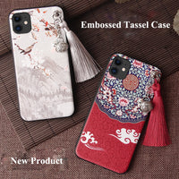 3D Relief Emboss Tassel Bell Anti knock Case for iPhone 11 Pro Max XS XR X