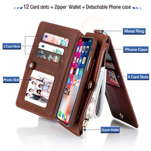 Leather Zipper Wallet Removable Flip Cover Card Case For iPhone X 8 7 6