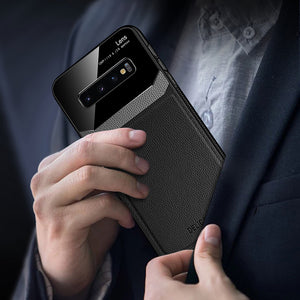 Leather Mirror PlexiGlass Case for Samsung S10 Series Note 10 Series