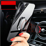 Hard Tempered Glass With Stand Ring Magnet Protect Back Cover Case for Samsung Note 10 Note 10 Plus