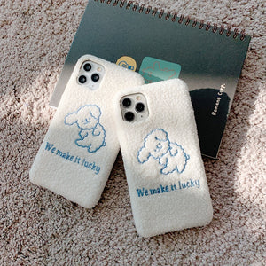 Soft Plush Cute Dog Phone Case for iPhone 11 Series
