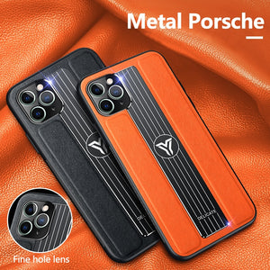 Luxury Leather Car Magnetic Holder Ultra thin Silicone Metal Porsche Protection Cover Case For iPhone 12 Pro Max 5