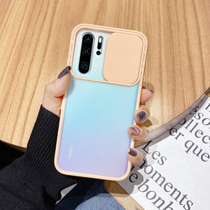 Slide Camera Lens Protection Shockproof Matte Soft Back Cover Case For Huawei Smartphone