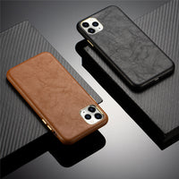 Luxury Real Leather Metal Button Back Cover Midnight Green Phone Case For iPhone 11 Series