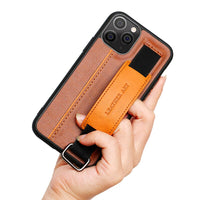 PU Leather Bracket Wristband Card Holder Full Cover Lanyard Shell Case for iPhone 11 Series