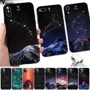 12 Constellations Zodiac Signs Black Cell Phone Case for iPhone 11 Series