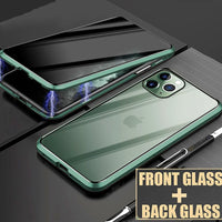 Magnetic Tempered Glass Privacy 360 Full Protection Metal Case for iPhone 11 Series