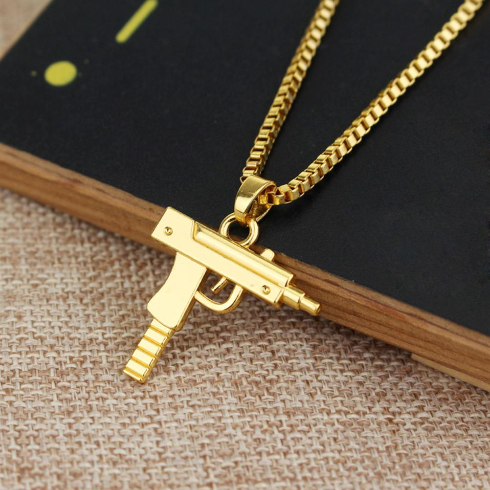 60cm Hip hop Uzi Gun Pendants & Necklaces