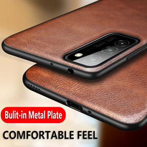 Retro Leather Soft TPU Edge Back Cover Leather Magnetic Car Case for Galaxy S20 Ultra
