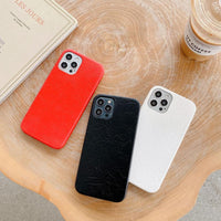 Luxury Leather Plain Candy Color Matte Waterproof Phone Case For iPhone 12 Series