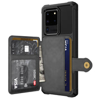 PU Leather Flip Wallet Cover with Photo Holder Hard Back Cover Case for Samsung Galaxy S20 Series