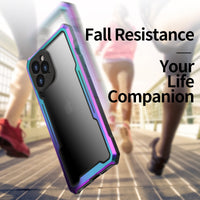 Colorful Rainbow Metal Bumper Transparent Shockproof Armor Case For iPhone 12 Series