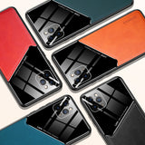Luxury Leather Plexiglass Shockproof Case Car Magnetic Holder For iphone 11 Series