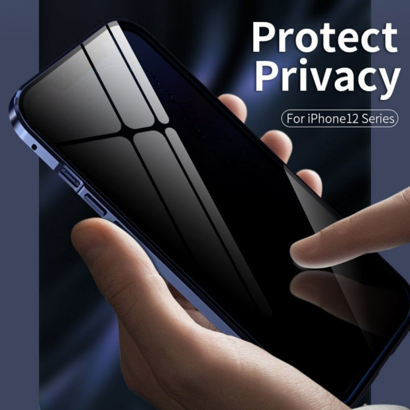 Anti Spy 360 Magnetic Protective Privacy Glass Magnetic Case For iPhone 12 Pro Max