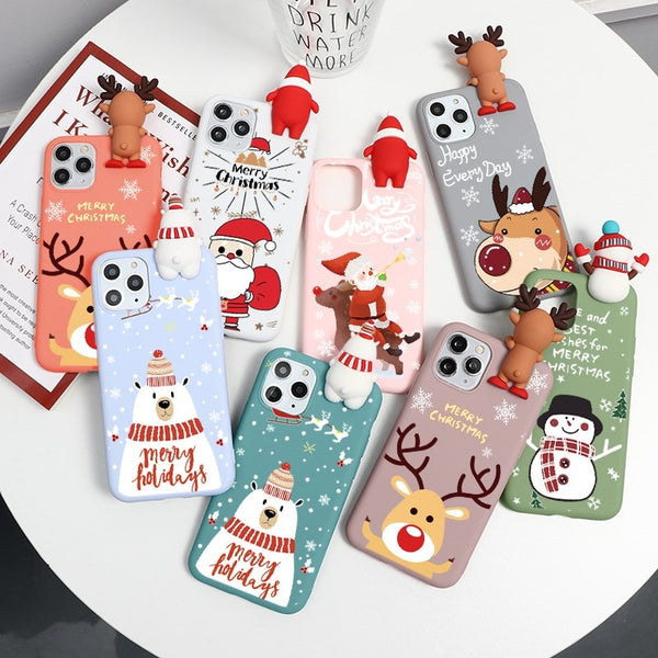 Cute 3D Cartoon Doll Christmas Deer Case For iPhone 12 Mini