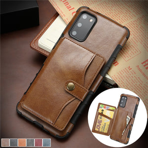 Luxury Retro Business Fashion Leather Flip Wallet Case for Samsung Galaxy S20 Series