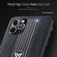 Camera Lens Protection Leather Metal Back Cover Case For Iphone 11 Series