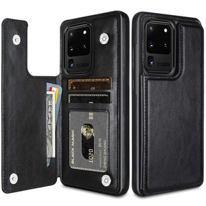 Luxury Slim Fit Premium Leather Card Slots Shockproof Flip Wallet Case for Samsung Galaxy S20 Ultra