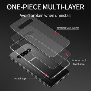 Luxury Ultra Thin Transparent Glass Heavy Duty Protection Case For Samsung S10 Series