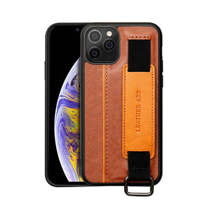 PU Leather Bracket Wristband Card Holder Full Cover Lanyard Case for iPhone 12 Series