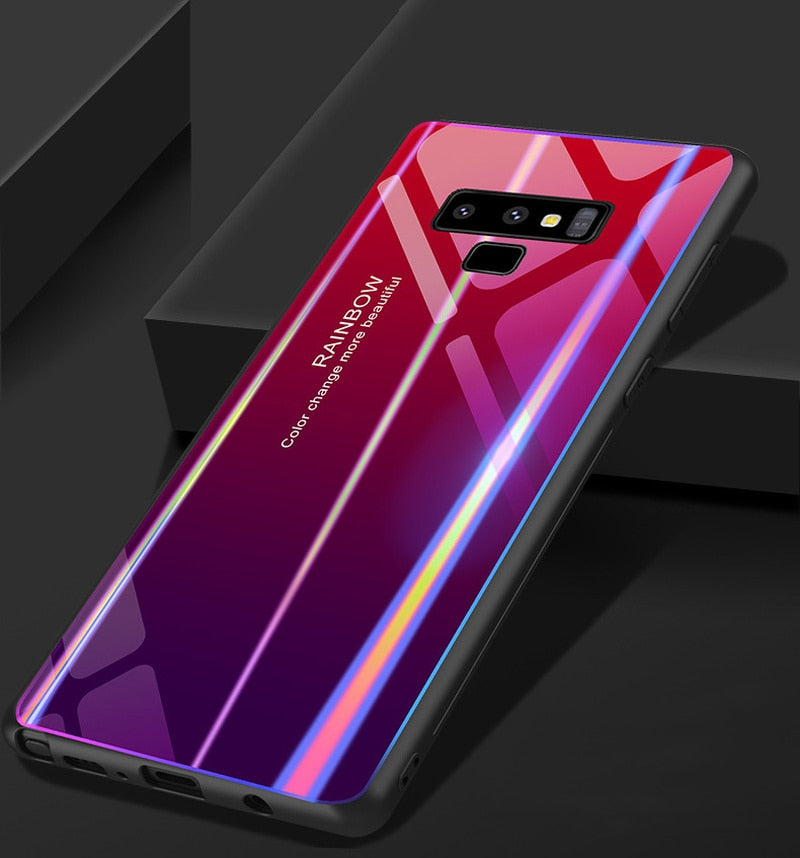 huge discount 8e6d2 ea406 Rainbow Tempered Glass Back Cover for Note 9
