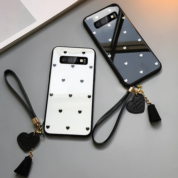 Samsung Galaxy S10 S10 Plus S10e Tempered Glass Case With Lovely Strap