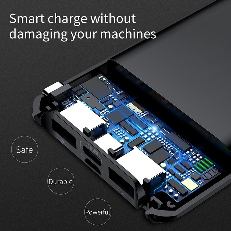 watch f142f eeb84 10000mAh LCD Quick Charge 3.0 Dual USB Power Bank For iPhone X 8 7 6  Samsung S9 S8 Xiaomi