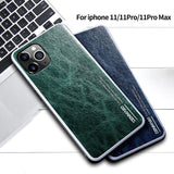 Genuine Leather Retro Vintage Case Original 360 Soft TPU Full Protective Cover for iPhone 11 Pro Max