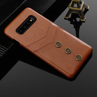 Leather Card Holder Back Case For Samsung Galaxy S9 S10 Plus S10e