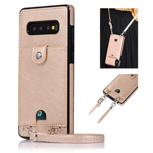Leather Case with Wallet Card Strap Crossbody Long Chain For Samsung Note 10 Plus 9 S10E S9