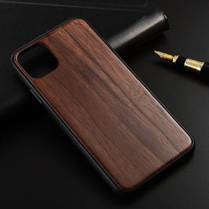 Slim Wood Back Cover TPU Bumper Case for iphone 11 Series